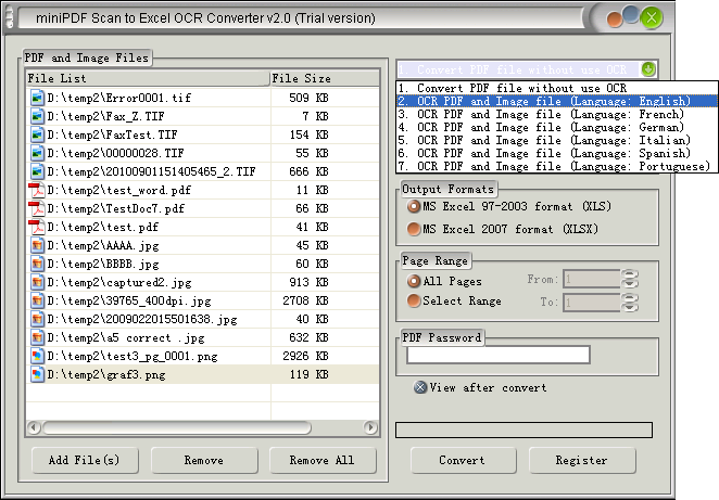 Scan to XLSX OCR Converter does convert Scan to XLSX